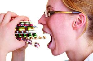 Приём таблеток в избытке