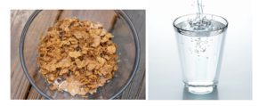 Отруби в чашке и вода в стакане