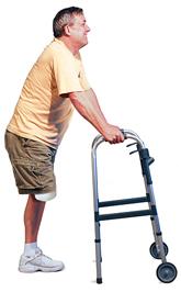 Человек с ампутированной ногой